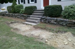 Replace wall, put in new steps and walkway – Tyngsboro – Before