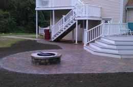 Patio, fire pit and walkway